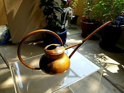 Vintage Small Solid Copper Watering Can w/ Long Spout & Really Nice Patina, VGUC