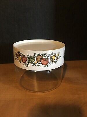 Vintage Pyrex Clear Glass Storage Bowl with Screw on Lid Vegetable Motif 1QT EUC