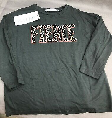 Girls age 5-6 years charcoal grey long sleeve T Shirt by M&S *NEW+TAGS*