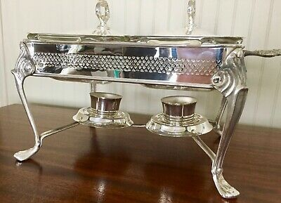 Vintage Sheridan Silver Co Chafing Dish Casserole Warmer Two Pyrex Dishes w Lids
