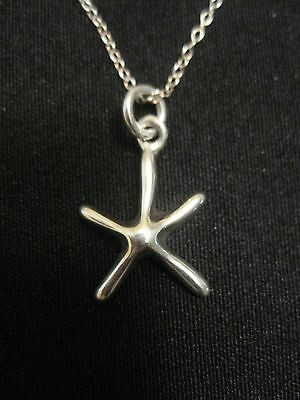 "925 Sterling Silver Star Fish Necklace on 18"" Sterling Silver Chain NEW"