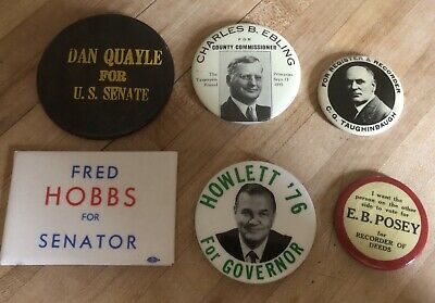 Set Of 6 Political Mirror Back Buttons