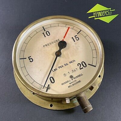 """Antique 'Russell & Russell' Makers Melbourne 6"""" Brass Steam Pressure Gauge Train"""