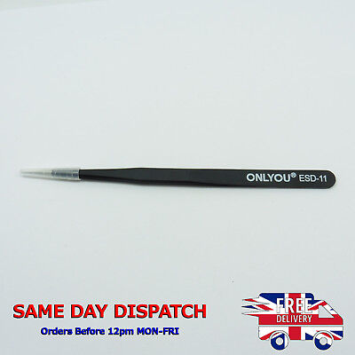 ESD-11 Stainless Steel Tweezers Electronic Repair Tool Precision Anti-Static T63