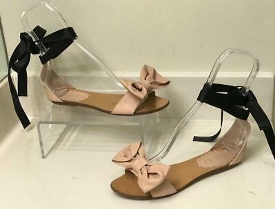 666ef005fea RED VALENTINO LEATHER Bow Flat Sandals 37 7 US - Modified