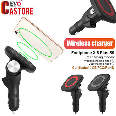 Qi Fast Wireless Magnetic Car Mount Charger Charging Pad For Iphone X 8 Plus S9