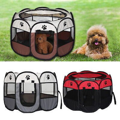 Pet Cage Foldable Pet Exercise Pen Kennel Soft Fabric Dog Run Puppy Cat Playpen