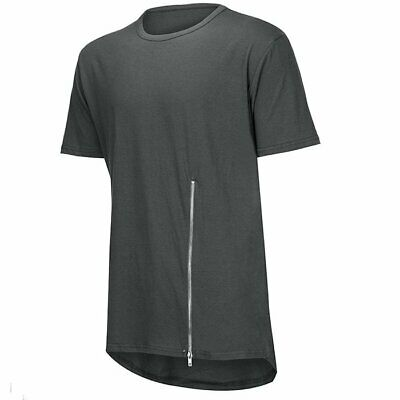 Men's Short-sleeved Zip Design Hip-hop Streetwear Tee Top Curve Hem Tshirt Men