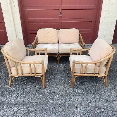 McGuire Settee/Loveseat and Pair of Chairs Rattan Bamboo