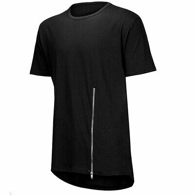 Men's Solid Loose T-shirt Streetwear Short-sleeved O-collar Hip-hop Zip Top Tee