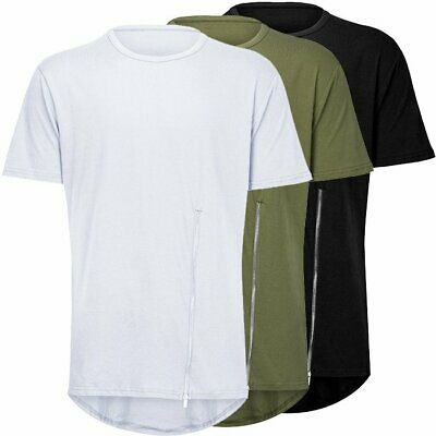 Men's Hip Hop Zip Tshirt  Streetwear Solid Loose Short-sleeved  T-shirt Men Tops