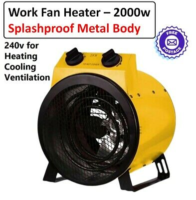 Electric Fan Heater Splashproof Workshop Dryer Blower Floor Carpet Shed Garage