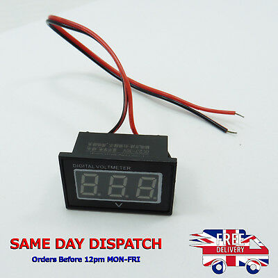 Two Wire DC Digital Voltmeter 5V 12V 24V 30V Waterproof Polarity Protection DIY