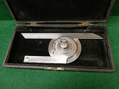 Vintage Starrett # 362 Protractor with Case  Machinist Toolmaker Mill Lathe