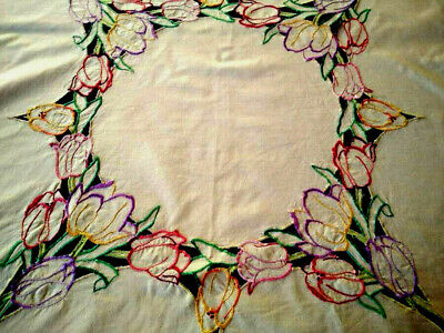 Charming Pastel Tulips ~ Vintage Hand Embroidered/Cut-work Tablecloth