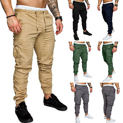 Mens Chino Cargo Harem Pants Work Elastic Waist Combat Military Pencil Trousers