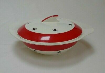 Red & White with Stars Crownford Burslem Art Deco style Tureen / serving dish