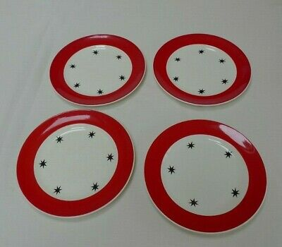 Red & White with Stars Crownford Burslem Art Deco style plates