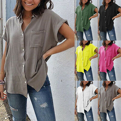 UK Women Cotton Linen Short Sleeve Shirt Blouse Ladies Summer Tee Tops Size 6-22
