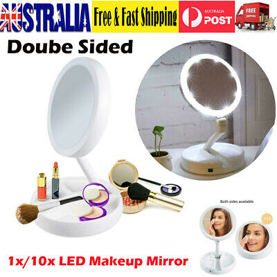 Portable Folding Makeup Mirror W/ LED Light 1x/10x Magnifying Double Side Mirror
