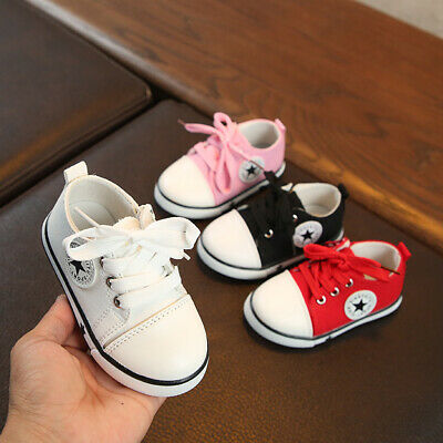 21-25 Toddlers Boys Girls Sports Shoes Trainers Canvas Skateboard Kids Lace Up