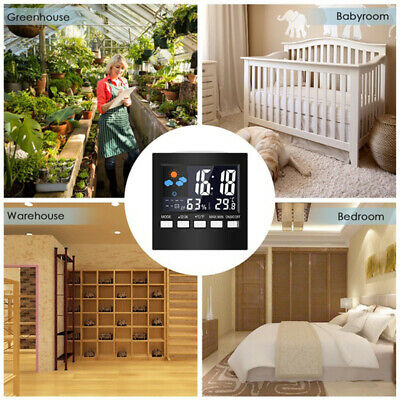 Home Digital LCD Display Backlight Thermometer Calendar Weather Alarm Clock