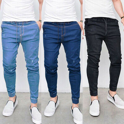 Mens Elasticated Waist Jeans Stretch Denim Pants Slim Fit Casual Pencil Trousers