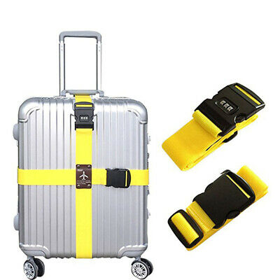 Adjustable Suitcase Cross Luggage Strap With Safe Lock Baggage Belt Travel Ba SU