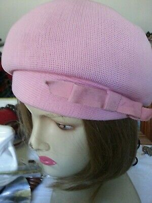 Vintage KANGOL beret/hat, pink with band and bow trim.