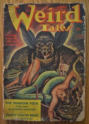 WEIRD TALES January 1945 pulp magazine. Edmond Hamilton, Ray Bradbury