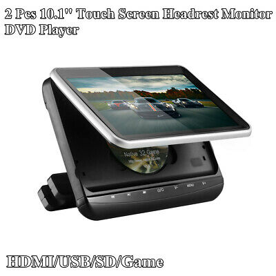 2 Pcs HD Car Headrest Monitor 10.1'' Video DVD Player USB/SD Slot HDMI Function