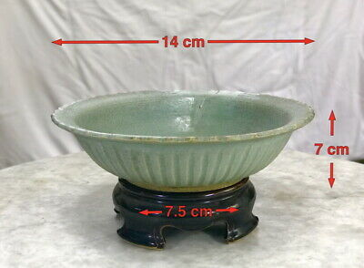 Ancient Sawankhalok green glazed bowl from 14-15th century Thailand