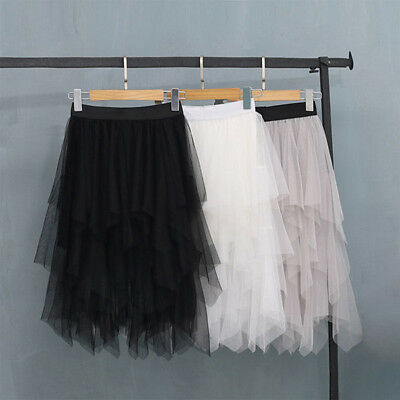 Women Fashion Elastic High Waist Mesh Tutu Skirt White Black Gray Long TOP