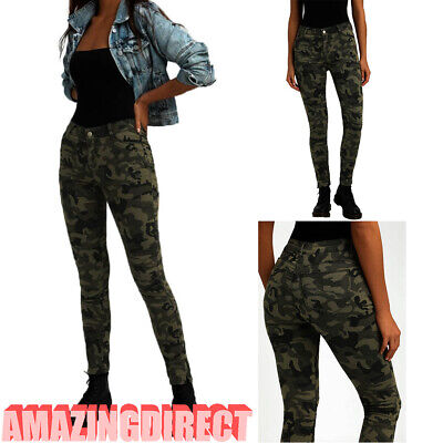4c746df40fc4b Womens Camouflage Trousers Skinny Denim Jeans Stretchy Jeggings High Waist  Pants