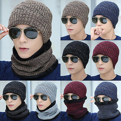 Mens Hat Winter Beanie Baggy Warm Wool Fleece Snow Ski Cap Scarf Neckerchief Set