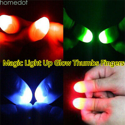 LED Light Up Thumb Silicone finger Props Magic Trick Lights Prank Novelty 2pcs