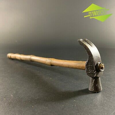 Interesting Vintage Cast-Steel Miniature Claw Hammer On Bamboo Handle Tools