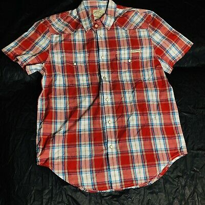 5022e930 Lucky Brand Men's Pearl Snap Plaid Western Cowboy Button Up Shirt Size  Medium