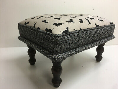 FOOTSTOOL Dachshund fabric /black trim , antique style dark oak wooden  legs