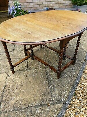 Antique Oak Barley Twist gateleg Dropside Dining Table