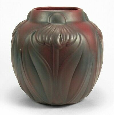 Van Briggle Pottery '20's mulberry red cone flower vase shape 754 Arts & Crafts