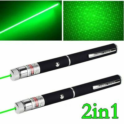 2PC Ultra Bright Green Laser Pointer Portable Pen Star Cap Visible Beam Pet Toy