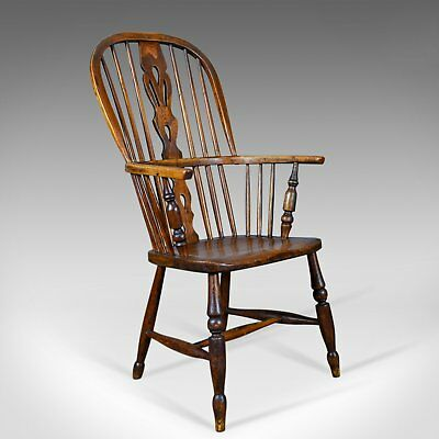 Antique Windsor Armchair, English, Victorian, Stick Back, Elbow Chair Circa 1860