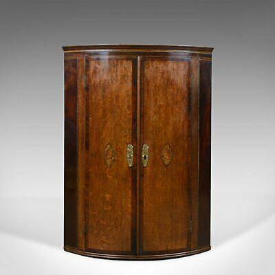 Antique Corner Cabinet, English, Georgian, Bow Fronted, Oak, Hanging, Circa 1760