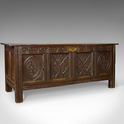 Antique Coffer, English, Oak, Chest, Trunk, Early 18th Century, Circa 1700