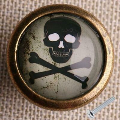 Retro Skull Print Wardrobe Cabinet Door Cupboard Drawer Pull Handle Knob #5