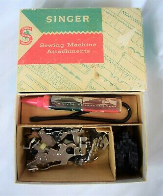 Vintage Singer 328J Lot Sewing Machine Attachments in Box