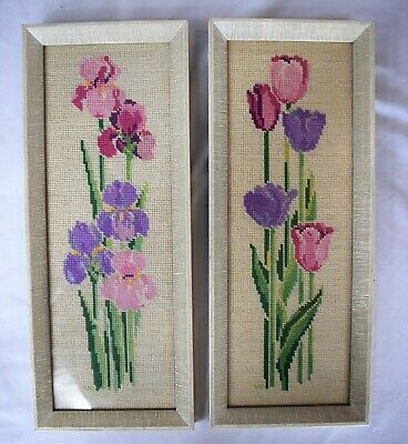 Set of 2 Framed Vintage Hand Stitched Needlepoint Floral Tapestry Tulip / Iris
