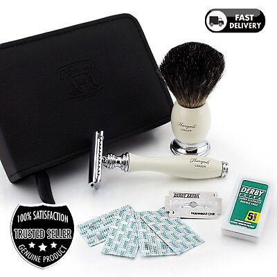 Travel shaving set Double Edge safety razor Badger hair brush in Leather Case