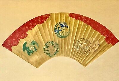"""ANTIQUE JAPANESE FAN PAINTING, HAND PAINTED, MOUNTED & FRAMED, 24""""x14.25""""x3/4"""""""